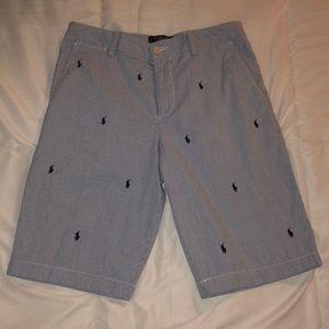 White-Blue Monogram Ralph Lauren Chino Shorts